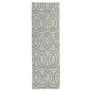 Handmade Natural Fiber Cayon Grey Circles Rug (2'6 x 8'0)