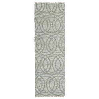 Handmade Natural Fiber Cayon Grey Circles Rug (2'0 x 6'0)