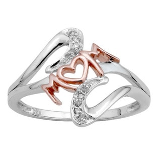 Sterling Silver Two-Tone Diamond Accent Mom Ring