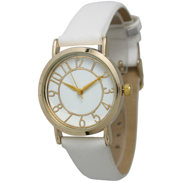 Olivia Pratt Women's Gold Dial Leather Strap Watch