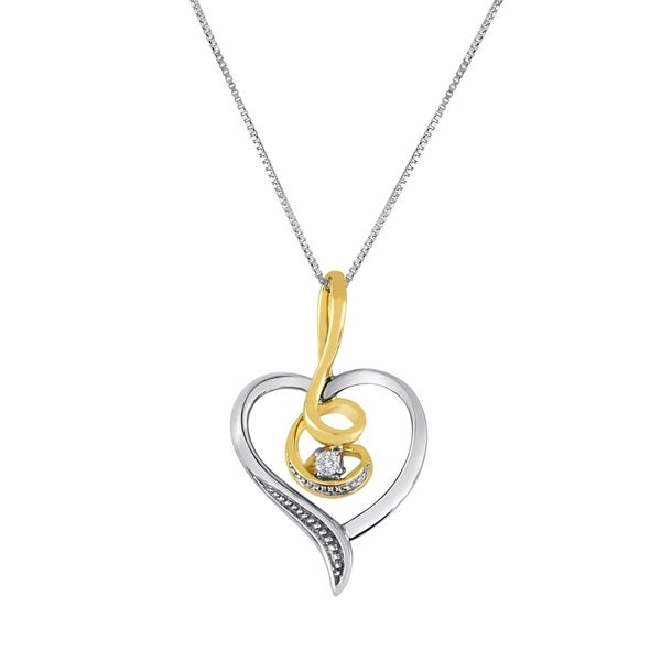 10k Two-toned Heart and Music Pendant with Diamonds (I-J, I2-I3)