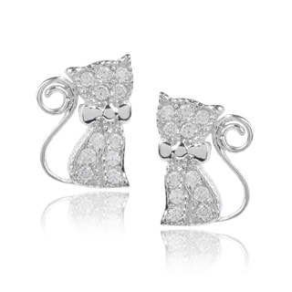 Journee Collection Sterling Silver Cubic Zirconia Cat Stud Earrings