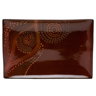 Red Vanilla Organic Brown 4-piece Rectangular Plate Set