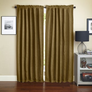 Blazing Needles 'Champagne' Patterned Jacquard Chenille Curtain Panels (Set of 2)