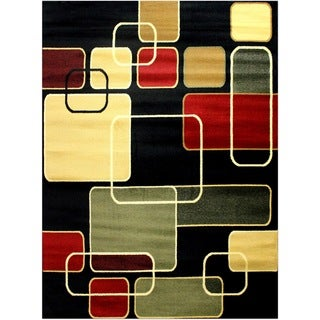 LYKE Home Prism Black Square Area Rug (8' x 10')