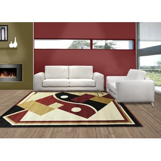 LYKE Home Prism Contemporary Red Area Rug (8' x 10')