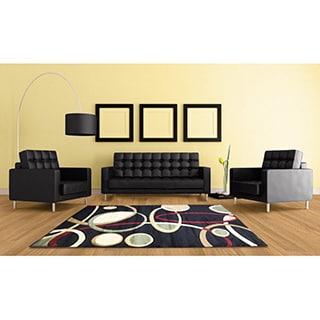 LYKE Home Rosa Contemporary Black Area Rug (4' x 6')