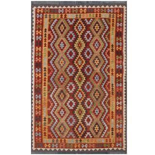 Herat Oriental Afghan Hand-woven Tribal Kilim Red/ Gold Wool Rug (6'5 x 9'8)