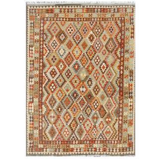 Herat Oriental Afghan Hand-woven Tribal Kilim Brown/ Ivory Wool Rug (6'8 x 9'4)