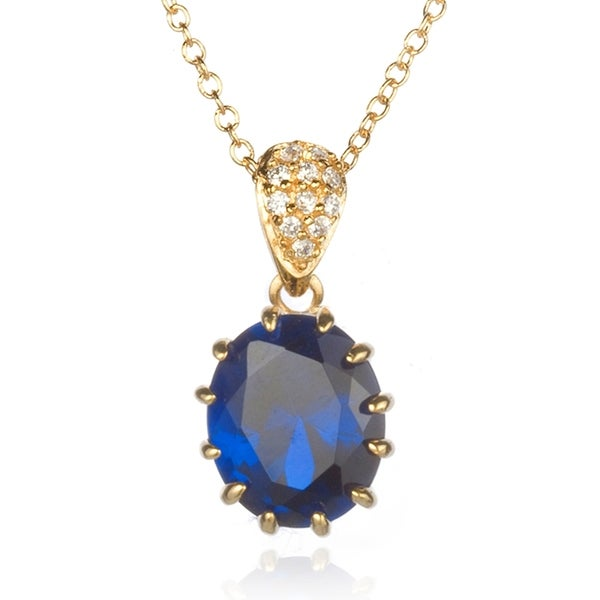 Synthetic Sapphire Oval Pendant