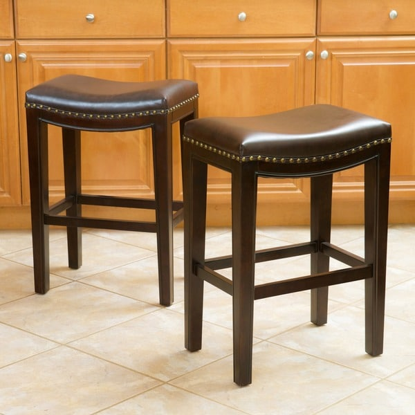 backless brown leather bar stools 2