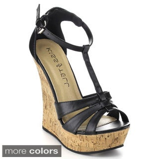 Kiss & Tell 'Valera-46' Women's T-strap Platform Wedges