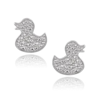 Journee Collection Sterling Silver Diamond Accent Duck Stud Earrings