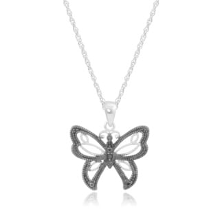 Journee Collection Sterling Silver Black Diamond Accent Butterfly Pendant