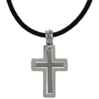 CGC Stainless Steel Two-piece Double Cross Pendant on Black Leather Necklace