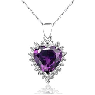 CGC Sterling Silver Created Amethyst and CZ Heart Pendant on 18 Inch Box Chain Necklace