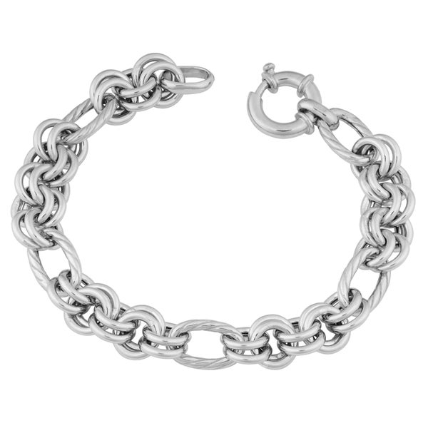 Argento Italia Rhodium-plated Sterling Silver 9.2-mm High Polished Fancy Link Bracelet