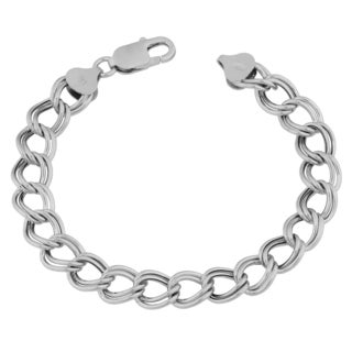 Argento Italia Rhodium-plated Sterling Silver High Polish Double Link Charm Bracelet