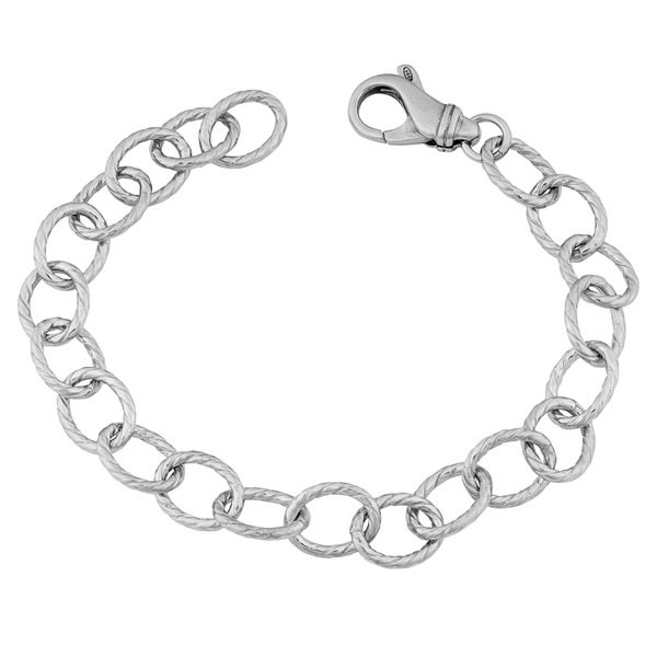 Argento Italia Rhodium-plated Sterling Silver 9-mm Solid Textured Cable Link Bracelet