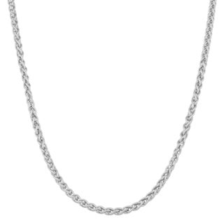 Argento Italia Rhodium-plated Sterling Silver Round Wheat Chain Necklace (18 inches)