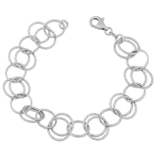 Argento Italia Sterling Silver Stylish Alternate Double and Single Ring Link Bracelet