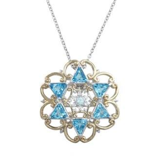 Michael Valitutti Palladium Silver Blue Topaz White Zircon and Sapphire Pendant