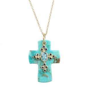 Michael Valitutti Kingman Turquoise and Gemstone Cross Necklace