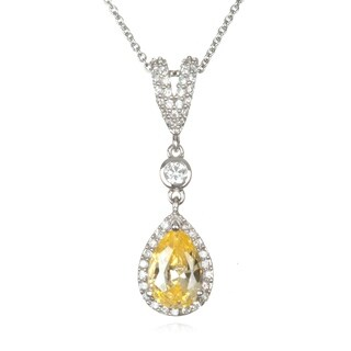 Canary Cubic Zirconia Pear Pendant with Pave Bale