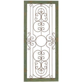 'Green Wall Gate' Metal Plaque in Wood Frame Wall Art