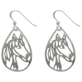 Carolina Glamour Collection Sterling Silver Horse Profile Teardrop Dangle Earrings