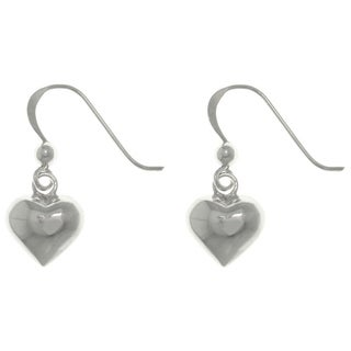Carolina Glamour Collection Sterling Silver Petite Puff Heart Dangle Earrings