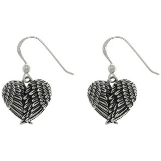 Carolina Glamour Collection Sterling Silver Angel Wings Heart Dangle Earrings