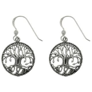 CGC Sterling Silver Rope Edge Celtic Tree of Life Dangle Earrings
