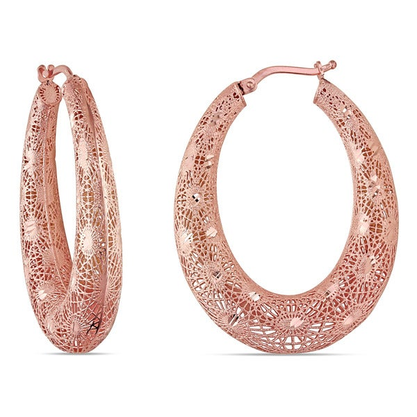Miadora 18k Rose Gold Filigree Hoop Earrings