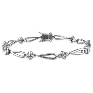 Miadora Sterling Silver 1/2ct TDW Diamond Teardrop Flower Bracelet (J-K I2-I3)