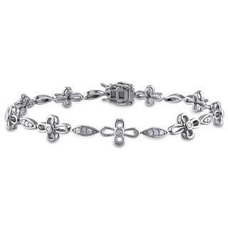Miadora Sterling Silver 1/2ct TDW Diamond Flower Bracelet (J-K, I2-I3)