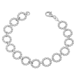Argento Italia Sterling Silver Beaded Link Bracelet