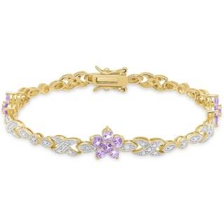 Dolce Giavonna Gold over Sterling Silver Diamond Accent Gemstone Flower Bracelet