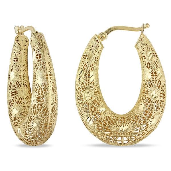Miadora 18k Yellow Gold Filigree Hoop Earrings