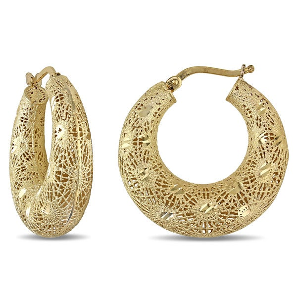 Miadora 18k Yellow Gold Filigree Hoop Earrings