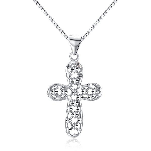CGC Sterling Silver Cross Pendant with Sparkling Star Pattern on 18 Inch Box Chain Necklace