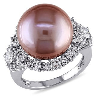 Miadora Signature Collection 14k White Gold Pink Freshwater Pearl 1 3/5ct TDW Diamond Ring (G-H, SI1-SI2) (13.5-14 mm)