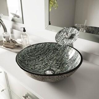 VIGO Titanium Glass Vessel Sink and Waterfall Faucet Set in Chrome Finish