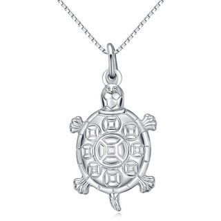 CGC Sterling Silver Turtle Pendant on 18 Inch Box Chain Necklace