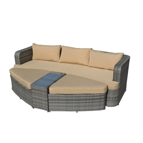 the-Hom Amelia 4-piece All-weather Grey Wicker Patio Set