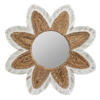 Cooper Classics Shila Whitewashed Banana Leaf Mirror