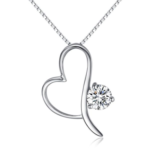 CGC Sterling Silver Open Heart Pendant with CZ Crystal on 18 Inch Box Chain Necklace