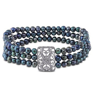 Miadora Silver Cultured Freshwater Black Pearl and Cubic Zirconia Stretch Bracelet (5-6 mm)