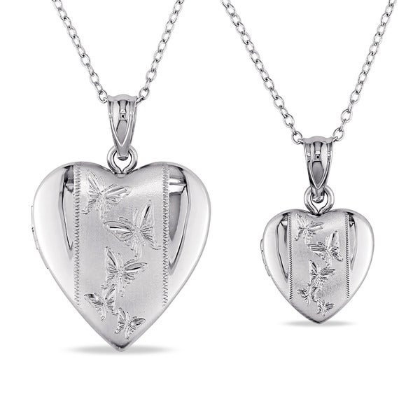 Miadora Sterling Silver 2-Piece Set of Heart Locket Heart Necklaces
