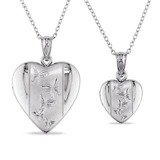 Miadora Sterling Silver 2-Piece Set of Heart Locket Heart Necklaces